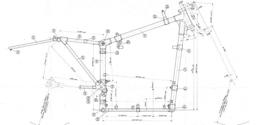 Velocette Frame Drawing